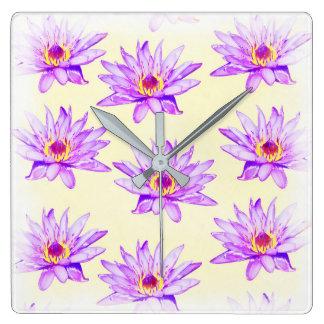 lotus flowers cream inky square wall clock