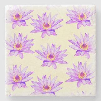 lotus flowers cream inky stone coaster