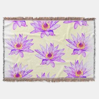 lotus flowers cream inky throw blanket