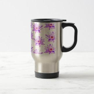 lotus flowers cream inky travel mug