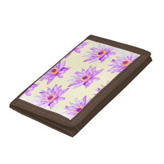 lotus flowers cream inky tri-fold wallets