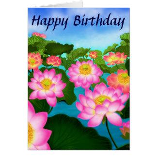 Lotus Flowers Happy Birthday Card