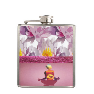 Lotus Flowers Meditation Lady Hip Flask