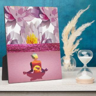 Lotus Flowers Meditation Lady Plaque