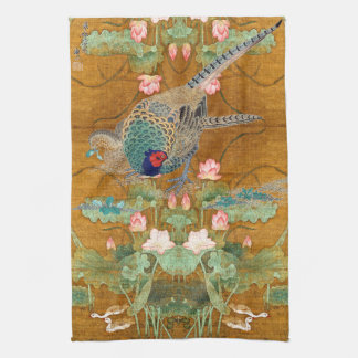 Lotus Flowers Pheasant Birds Asian Kitchen Towel