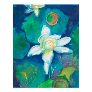 Lotus Flowers Watercolor Painting Poster