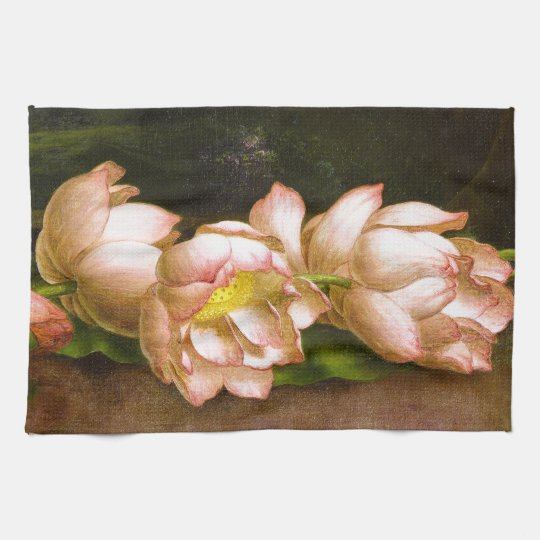 Lotus Flowers Waterlilies Heade Kitchen Towel