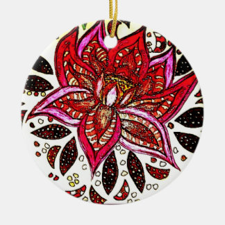 Lotus for the holidays round ceramic ornament
