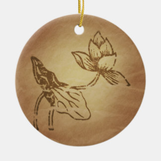 Lotus Fruitfulness Chinese Magic Charms Round Ceramic Ornament