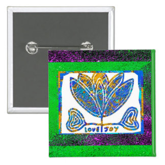 Lotus: Love and Joy 2 Inch Square Button
