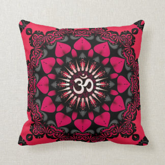 Lotus Love OM Mandala Pink Black Cushion / Pillow