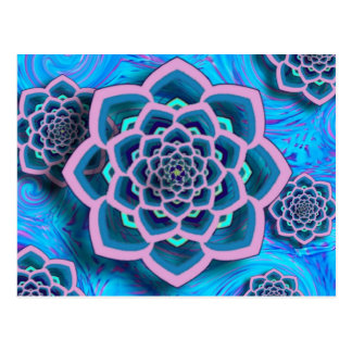 Lotus Mandala in Pink and Aqua Postcard