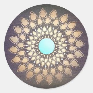 Lotus Mandala Logo Holistic Salon and Spa Wood Round Sticker