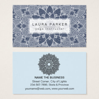 Lotus Mandala Yoga Instructor Blue White  Fitness Business Card