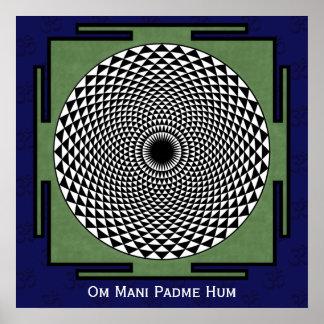 Lotus meditation dharma wheel poster