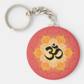 Lotus Om Basic Round Button Keychain