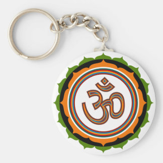 Lotus Om Design Basic Round Button Keychain