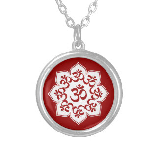 Lotus Om Design Round Pendant Necklace