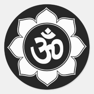 Lotus Om Design Round Sticker