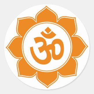 Lotus Om Design Classic Round Sticker