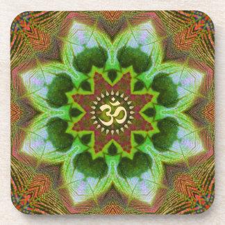 Lotus Om Mandala Geometric Art : Set of 6 Beverage Coasters