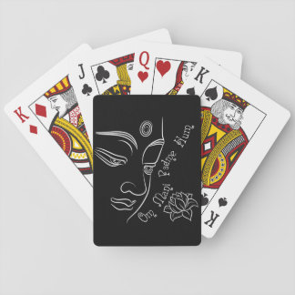 Lotus Om Mani Padme Hum on black Deck Of Cards