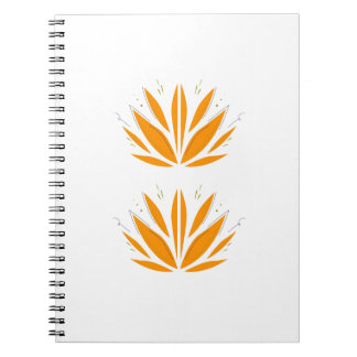 Lotus orange on white notebooks