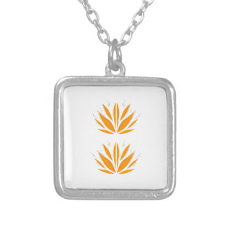 Lotus orange on white silver plated necklace