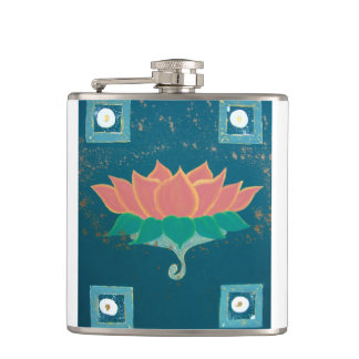 Lotus Painting Printed Flask
