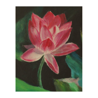 Lotus painting  Wood Wall Art
