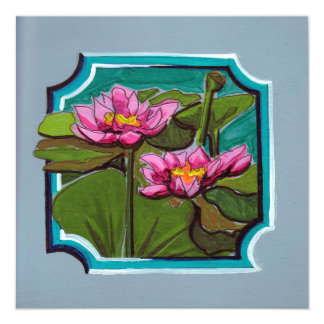Lotus pair in water with greens card