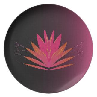 Lotus pink on black plate