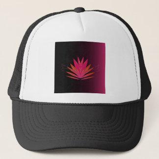 Lotus pink on black trucker hat