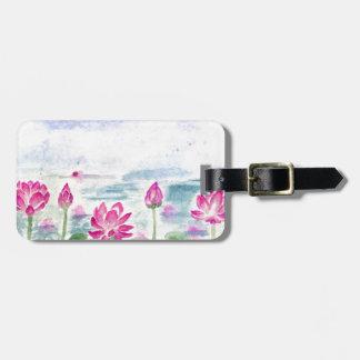 Lotus Pond Watercolor Bag Tag