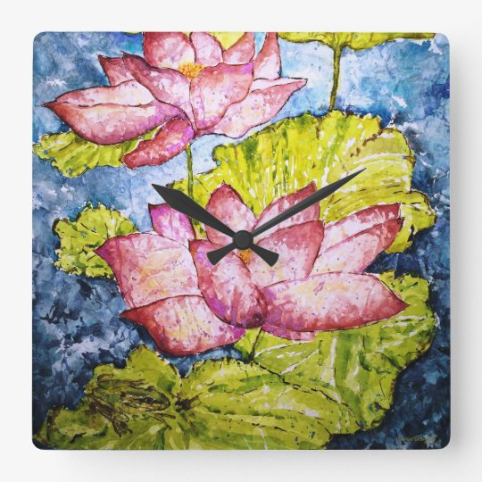 Lotus Pond Watercolor Design Wall Clock