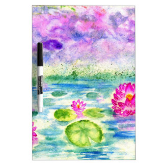 Lotus Pond Watercolor Dry Erase Whiteboards