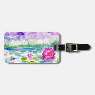 Lotus Pond Watercolor Luggage Tag