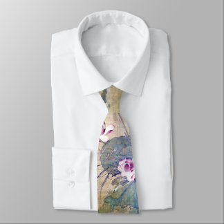 Lotus Reeds Asian Water Garden Ducks Tie