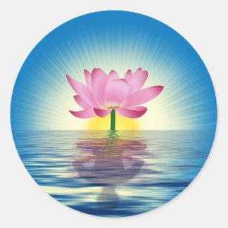 Lotus Reflection Classic Round Sticker