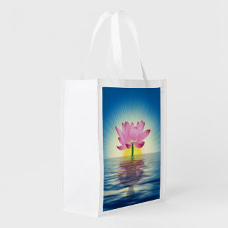 Lotus Reflection Reusable Grocery Bag