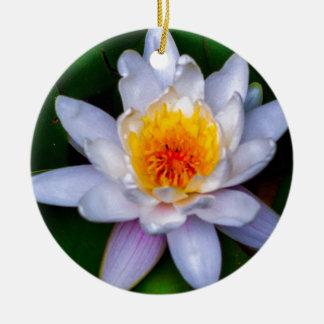 lotus round ceramic ornament