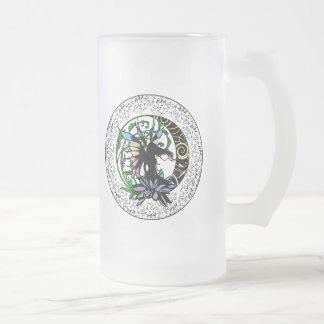 Lotus Shadow Fairy Frosted Glass Beer Mug
