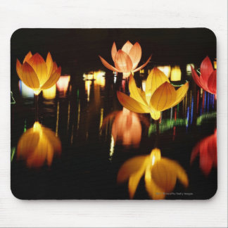 Lotus shaped lanterns for mid autumn festival mouse pad