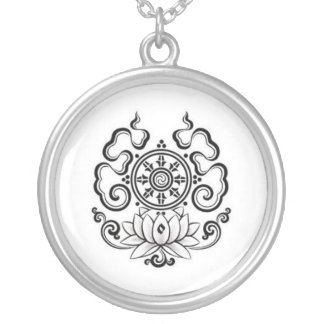 lotus. silver plated necklace