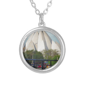 Lotus Temple New Delhi India Bahá'í House Worship Silver Plated Necklace
