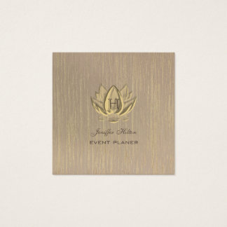 Lotus vintage elegant chic artdeco monogram square business card