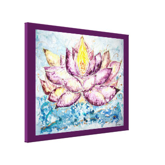Lotus Watercolor Print 24x18 Canvas