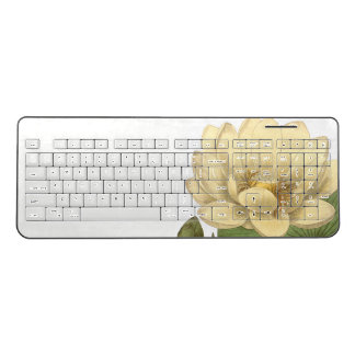 Lotus Waterlily Flower Pond Wireless Keyboard