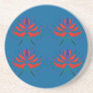 Lotuses ethno blue coaster