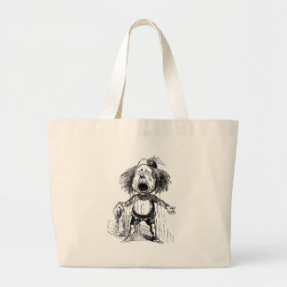 Loud Crying Boy Funny Cartoon Drawing Tears Large Tote Bag